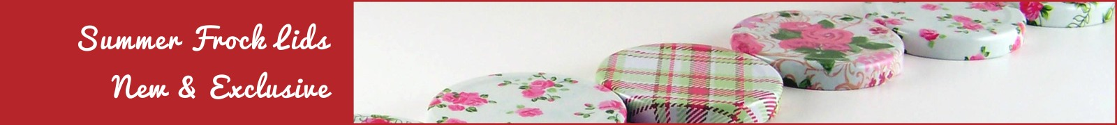 Summer Frock Rose Print Jam Jar Lid Designs