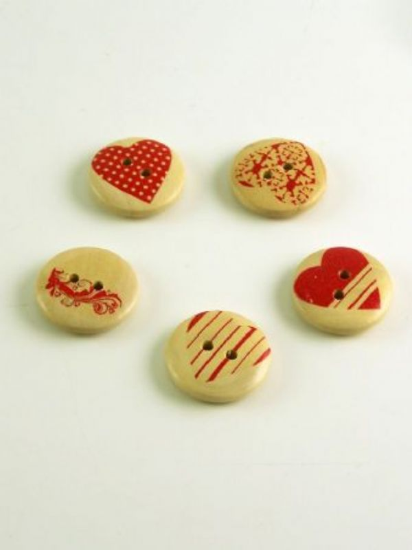 """""""Buy Heart Print Round Wooden Buttons from Love Jars"""""""