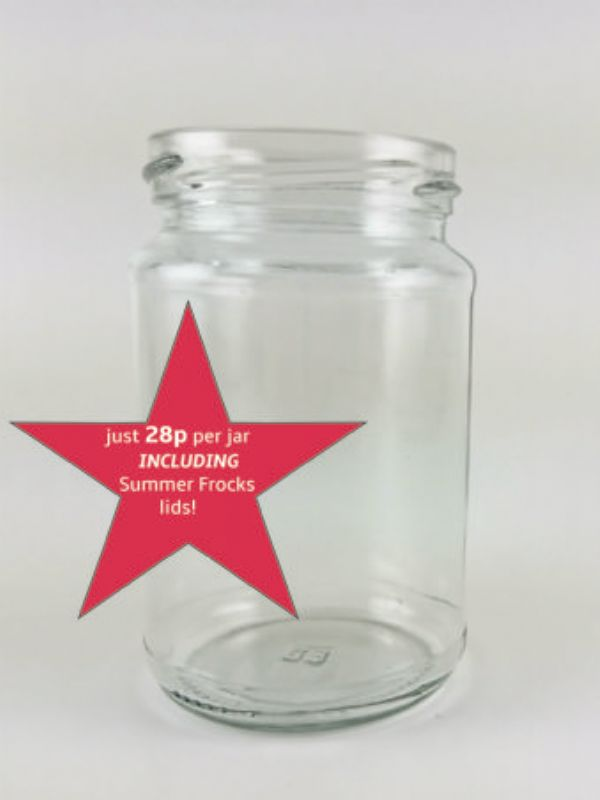 """""""Buy Jam Jars Round Glass 290ml with Summer Frocks Lids x64 from Love Jars"""""""