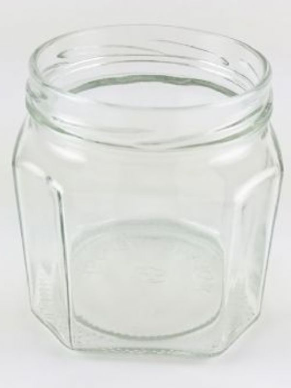 """""""Buy Jam Jars Facetted Glass 440ml with red gingham lids from Love Jars"""""""