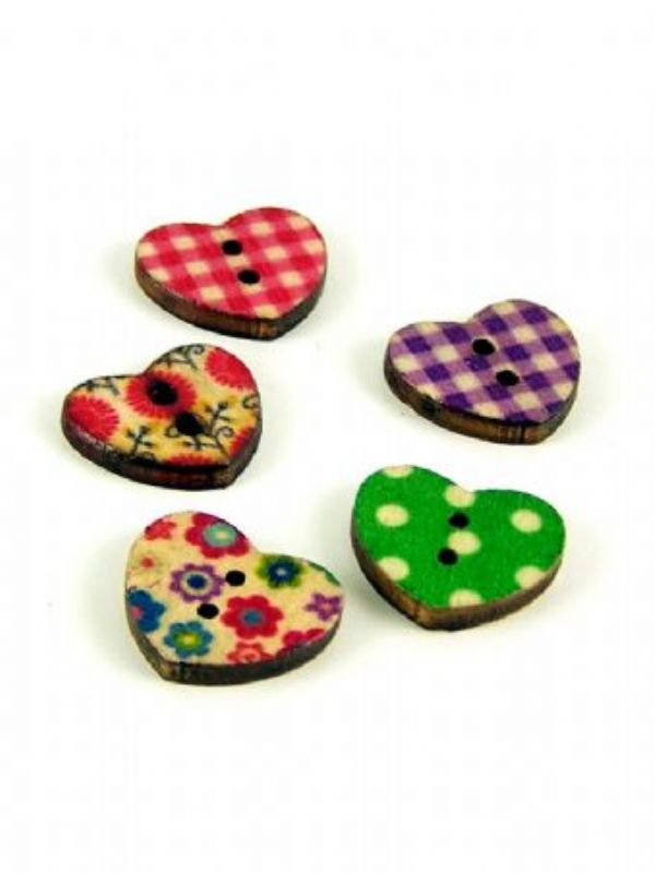 """""""Buy Mixed Print Design Heart Buttons from Love Jars"""""""