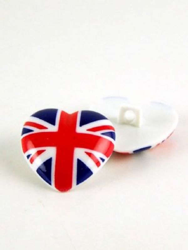 """""""Buy Union Jack Heart Button from Love Jars"""""""