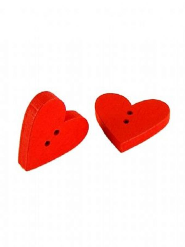 """""""Buy Red Wooden Heart Button from Love Jars"""""""
