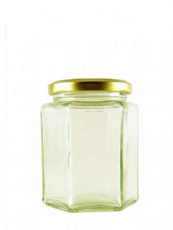 """""""Buy Hexagonal Jars 4oz with Gold Lid from Love Jars"""""""