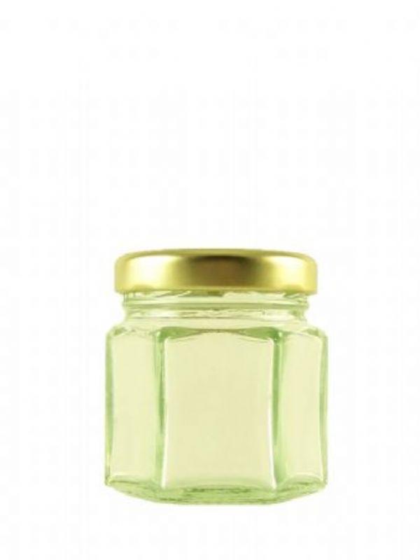 """Buy Hexagonal Jars 2oz with Gold Lids from Love Jars"""