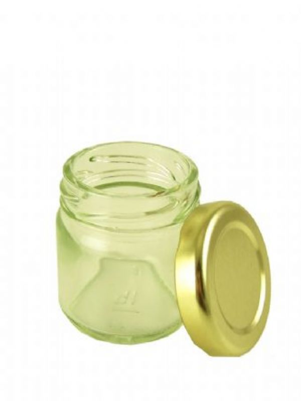 """""""Buy Round Jars 1.5oz with Gold Lid from Love Jars"""""""