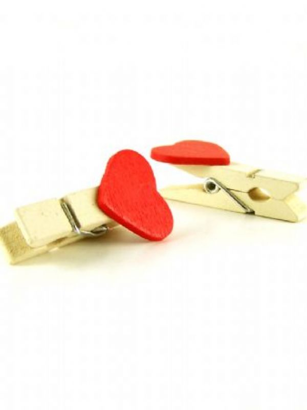 """Buy Wooden Miniture Red Heart Clothes Peg from Love Jars"""