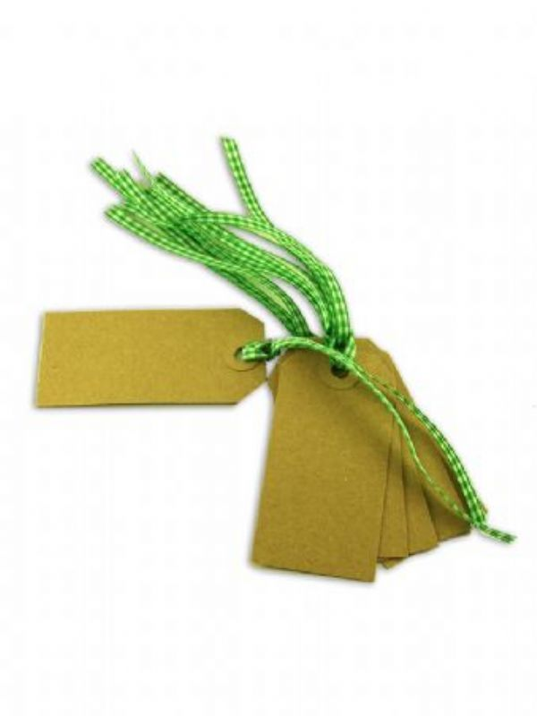 """""""Buy Kraft Gift Tag - 83x41mm with Green Gingham Ribbon from Love Jars"""""""