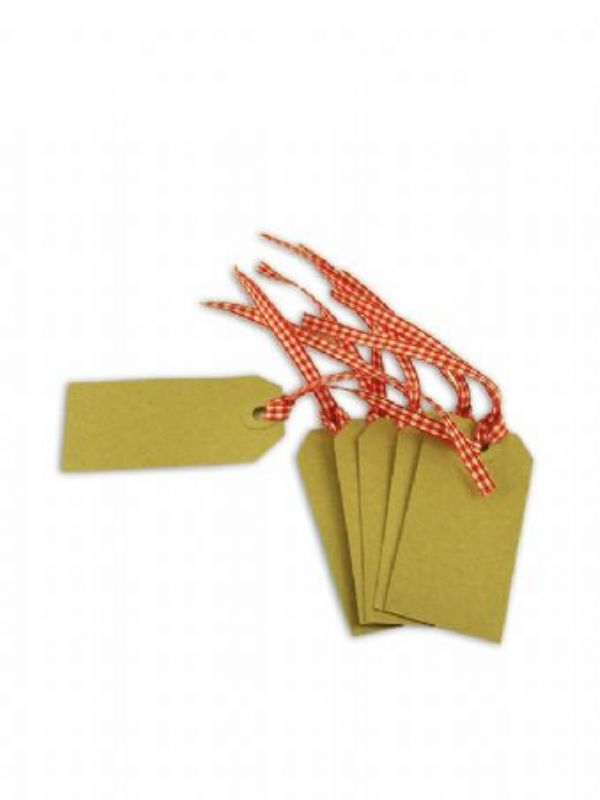 """""""Buy Kraft Gift Tag - 83x41mm with Red Gingham Ribbon from Love Jars"""""""